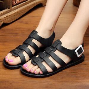 Women Jelly Shoes Strappy Buckle Summer Roman Sandals Plastic Beach Shoe Slipper