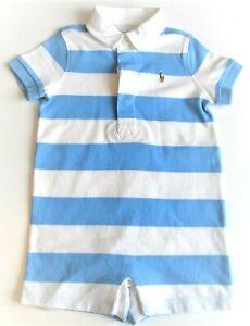 Ralph Lauren Baby Boy Light Blue & White Rugby Shortall - 6m, 9m,12m CLEARANCE