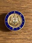 Antiker Knopf 1913 Silber 925 Sterling Glasgow emailliert Pin Anstecker Button