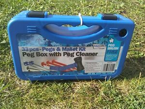 Tent pegs and mallet kit in plastic box. 33 pieces