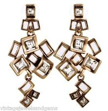 CLEAR WHITE CRYSTAL RHINESTONE Geometric Squares Gold Chandelier Drop Earrings