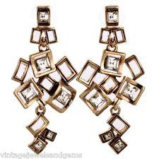 CLEAR WHITE CRYSTAL RHINESTONE Geometric Squares Gold Chandelier Drop Earrings
