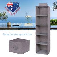 Hanging Closet Wardrobe Organizer Collapsible Storage Shelves for Travel Home au