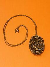 Schreiner NY Crystal Locket Chain Pendant Necklace
