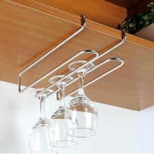 Bar Under Cabinet Display Hanging Shelf Stemware Wine Glass Holder Goblet Rack B
