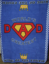 WORLDS GREATEST DAD THROW FLEECE FATHER'S DAY COLORFUL UNIQUE SUPERDAD NISP NEW