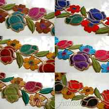 Metallic ROSE PETAL FLOWER Cotton Silk EMBROIDERED LACE TRIMS 0.5m IN 5 COLOURS