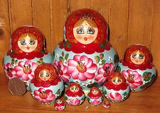 Muñeca Rusa de Anidación de Madera 10 pedazo Rojo Verde Matryoshka Simakova Pintado A Mano