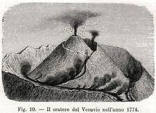 VULCANO VESUVIO: CRATERE NEL 1774. Vesuvius. Golfo di Napoli.Campania Felix.1896