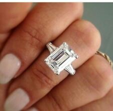 5.30 Ct Emerald Moissanite Forever One Tapered Baguettes Engagement Wedding Ring