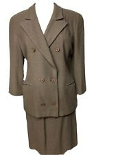 Giorgio Armani 2 pc Taupe Skirt Suit Wool Blend Double Breasted - Size 8/40