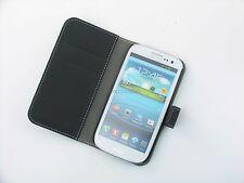 Portafoglio in Pelle Nera Custodia TELEFONO COVER SAMSUNG GALAXY s3 i9300 UK Spedizione Gratis