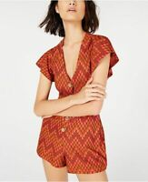 Free People Womens S Short Sleeve Phoenix Playsuit Romper Orange Red Combo NWT