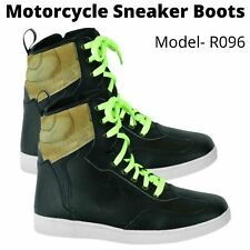 Mens Motorcycle Leather Boots Touring Riding Shoes Waterproof Non Slip Sneakers