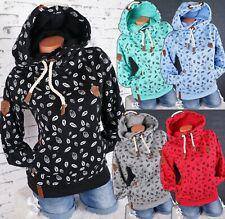 Damen Kapuzenpullover Hoodie Sweatshirt warmer Fleece Pulli  M L XL 2XL 3XL K02