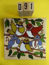 "Ceramic Art Tile 6""x6"" QUINTET 5 HAPPY SINGING BIRDS ON A BRANCH trivet wall D91"