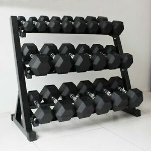3Layers Dumbbell Storage Rack Heavy Duty Stand 9Pairs Home Gym Weight Equipment