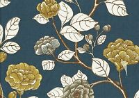 Robert Allen Fabric Blue Gold White Gray Floral  Cotton Drapery Upholstery