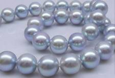 """18""""11-12mm natural south sea silver gray round pearl necklace 14k"""