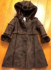 Dillards Copper Key Color Brown Button up Hooded Little Girl Coat Dressy Sz 2/3