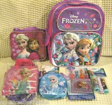 """Frozen Elsa Anna 16"""" Backpack,Lunch Bag,Party Bags,Jump Rope,Puzzle,Lip Balm-New"""