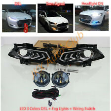 For Ford Fusion Mondeo 13-2016 LED Bulb Fog+3 Colors LED DRL Light Harness j Kit
