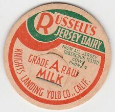 MILK BOTTLE CAP. RUSSELL'S JERSEY DAIRY. KNIGHT'S LANDING. YOLO CO., CA.