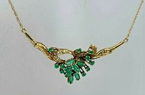 """Gorgeous 14k Natural Emerald Necklace w/ Small Diamond Accents, 19"""" Long"""