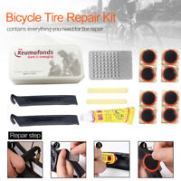 Bike Bicycle Flat Tire Tyre Repair Tool Kit Rubber Patch Glue Lever Fix Sets QR