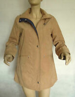NEW LADIES BEIGE/NAVY LIGHTWEIGHT MICROFIBRE HOODED PARKA JACKET SIZE 10/12