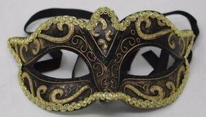 Mens or Ladies Black Gold Venetian Masquerade Party Halloween Carnival Eye Mask