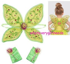 NEW DISNEY TINKER BELL FAIRY Small WING + GLOVES SET Green costume CHILD S 4+