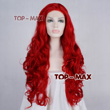 70cm Red Party Hair 28 Inches Heat Resistant Women Curly Lace Front Wig