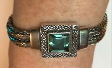 925 Indonesian Silver 2 Strand Woven Bracelet with Blue Topaz