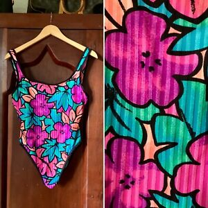 Vintage 1980s BAREFOOT MISS of California Swimsuit High Cut 11/12 (S/M)