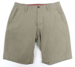 mens tan UNDER ARMOUR match play golf shorts woven loose 36 x 11