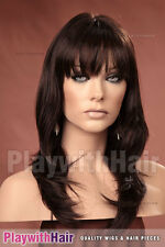 Feathery Long Layered Wig Dark Brown