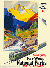 Far West National Parks Vintage Canada Canadian Travel Advertisement Art Poster