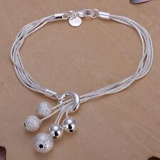 Damenarmband Schlangekette Kugeln mix 20cm Armband pl. mit Sterlingsilber DA243