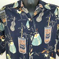 Vintage Mens Hawaiian Tiki Aloha Shirt Size XL? Cocktails Ukulele Rayon Blue