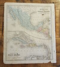 Antique Hand Colored MAP - MEXICO & CENTRAL AMER / Common School Geography 1873