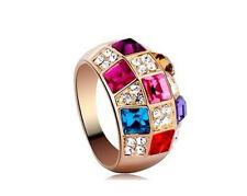 Elegance Women Colourful Chic Rhinestone Crystal Finger Dazzling Ring Jewelry #7