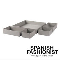 IKEA GRÅSIDAN BOX STORAGE SET OF 5 IN GRAY/ GREY