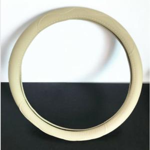Beige PU leather Car Steering Wheel Cover Universal Fit All Season 38cm/15 in