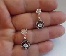 925 STERLING SILVER BLACK & ROSE GOLD DANGLING EARRINGS W/ 2.50 CT LAB DIAMOND
