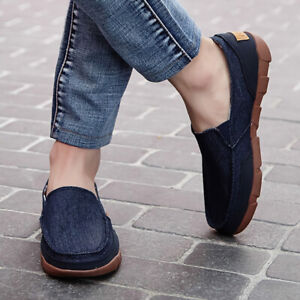 Men High Heel One-Foot Comfort Loafers Canvas Plimsoll Skate Casual Driving Shoe