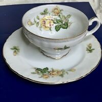 "Vintage ""YELLOW ROSE"" Bone China Gold Trim Tea Cup Saucer MADE IN JAPAN - 18001R"