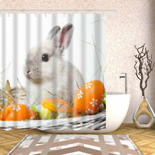Funny Animal Decor Shower Curtain Gray Rabbits pattern Bath Curtains + 12 hooks