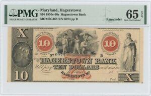 1850s-60s $10 Hagerstown Bank Maryland Obsolete PMG 65 Gem EPQ