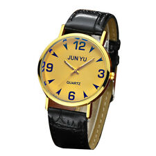Men`s Fashion Classic Gold Case Yellow Dial Quartz Black Band Wrist Watch.